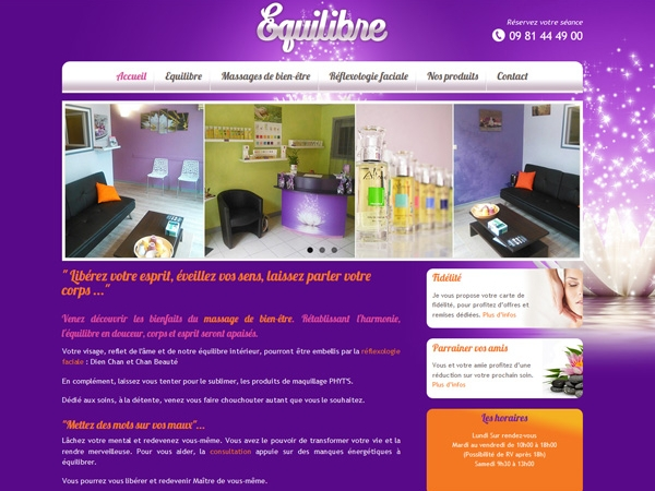 Site internet - Equlibre massage 82