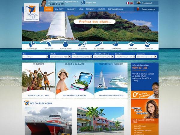 Site internet d'agence de voyage en Guadeloupe