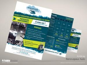 Flyer A5 pour la présentation de l'activité et des formule de Rénovapeur Auto