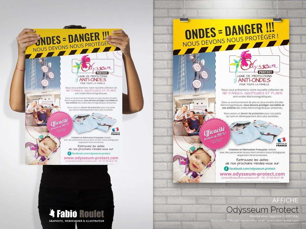 Flyer et affiche format A3, A4 et A5 pour la boutique en ligne Odysseum Protect
