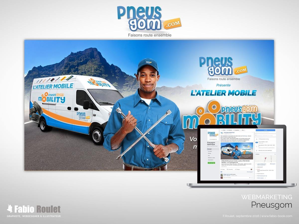Webmarketing : publicité pour le blog et les pages facebook Pneusgom